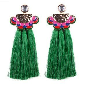 Pink Green Enamel Long Drop Boho Tassel Earrings